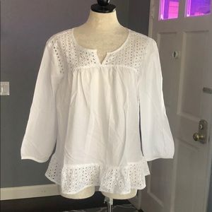 Grand & Greene White Eyelet Top